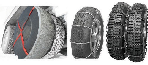 Winter traction devices, tire chains and AutoSock
