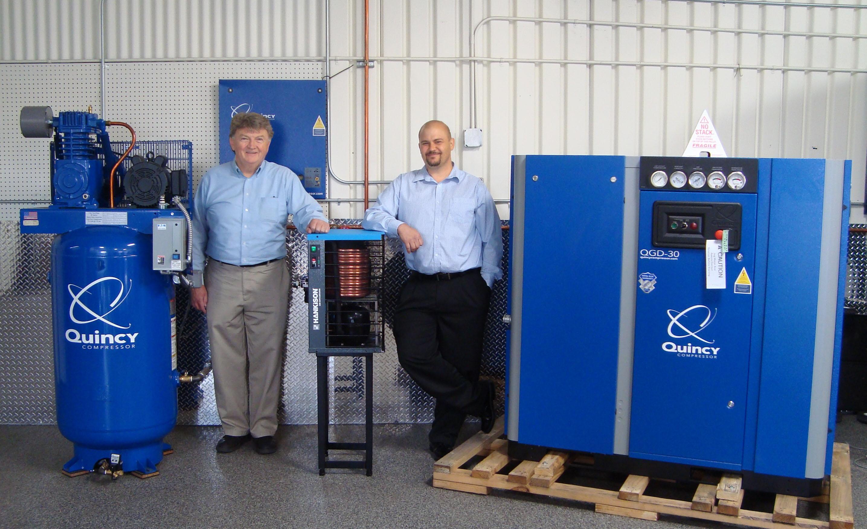Quincy compressors in showroom