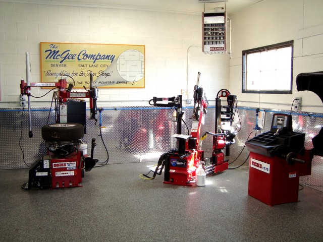 McGee showroom with shop equipment, balancers, and tire changers.